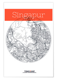 Premium-plakat  Singapore map circle - campus graphics