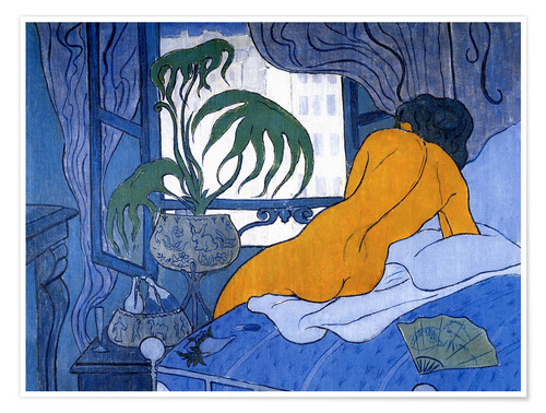 Premium-plakat The blue room (Nude with Fan)