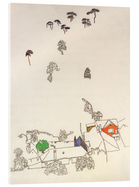 Akrylbillede  Houses and pines - Mödling - Egon Schiele