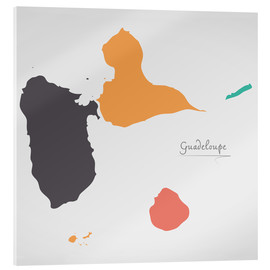 Akrylbillede  Guadeloupe map modern abstract with round shapes - Ingo Menhard