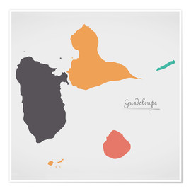 Premium-plakat Guadeloupe map modern abstract with round shapes