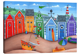 Lærredsbillede  Beach Hut Rainbow Scene - Peter Adderley