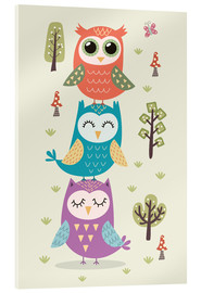 Akrylbillede  Three owls - Kidz Collection