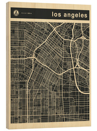 Print på træ  Los Angeles City map - Jazzberry Blue