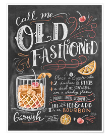 Premium-plakat  Old fashioned cocktail opskrift (engelsk) - Lily & Val