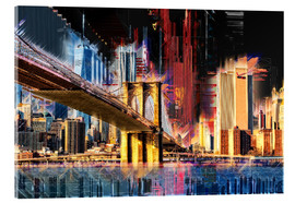 Akrylbillede  New York mit Brooklyn Bridge - Peter Roder