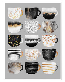 Premium-plakat Pretty coffee cups 3 in grey