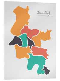 Akrylbillede  Dusseldorf city map modern abstract with round shapes - Ingo Menhard