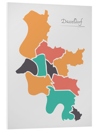 Print på skumplade  Dusseldorf city map modern abstract with round shapes - Ingo Menhard