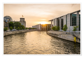 Premium-plakat Sunset at the Reichstag in Berlin