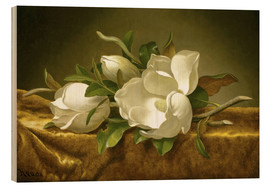 Print på træ  Magnolias on Gold Velvet Cloth - Martin Johnson Heade