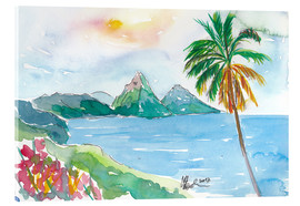 Akrylbillede  St Lucia Caribbean Dreams With Sunset and Pitons Peaks - M. Bleichner