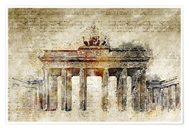 Premium-plakat  Berlin Brandenburg Gate in modern abstract vintage look - Michael artefacti
