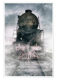 Premium-plakat Steam train at the snowing day