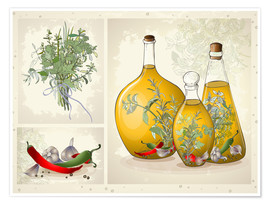 Premium-plakat Kitchen herbs collage