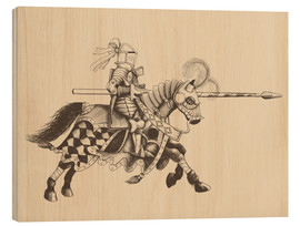 Print på træ  Knight with armor and horse