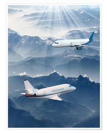 Premium-plakat Two aircrafts over the mountains