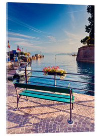 Akrylbillede  Bench on the coast of Garda in Peschiera