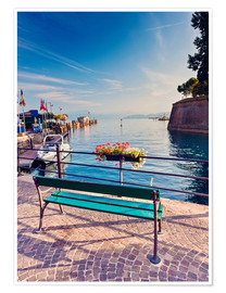 Premium-plakat Bench on the coast of Garda in Peschiera