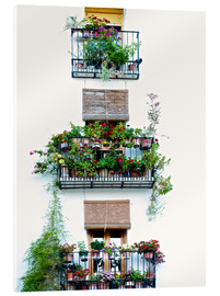 Akrylbillede  Facade with balconies full of flowers in Valencia