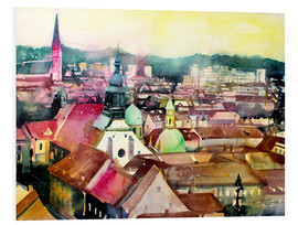 Print på skumplade  Graz, view to the cathedral - Johann Pickl