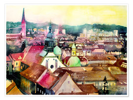 Premium-plakat Graz, view to the cathedral