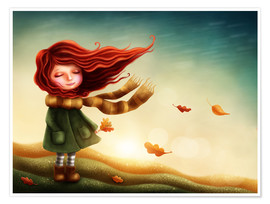 Premium-plakat Girl in the autumn wind