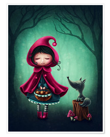 Premium-plakat Little red riding hood and the wolf