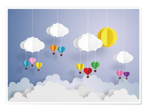 Premium-plakat Balloon ride in the clouds