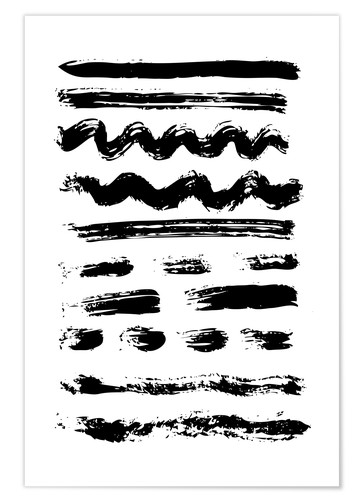 Premium-plakat Brush strokes black and white