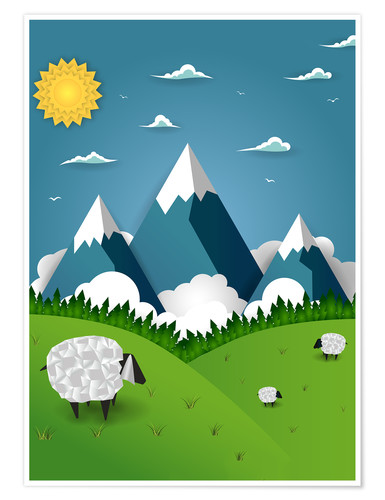 Premium-plakat Paper landscape with sheep