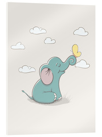 Akrylbillede  Little elephant with butterfly - Kidz Collection