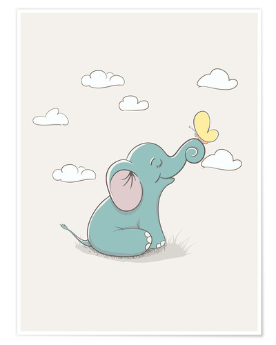 Premium-plakat Little elephant with butterfly