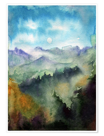 Premium-plakat Mountain panorama watercolour
