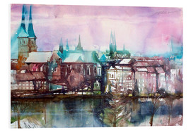 Print på skumplade  Lübeck, view from the millpond - Johann Pickl