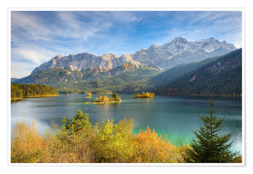 Premium-plakat Autumn at the Eibsee with a view to the Zugspitze