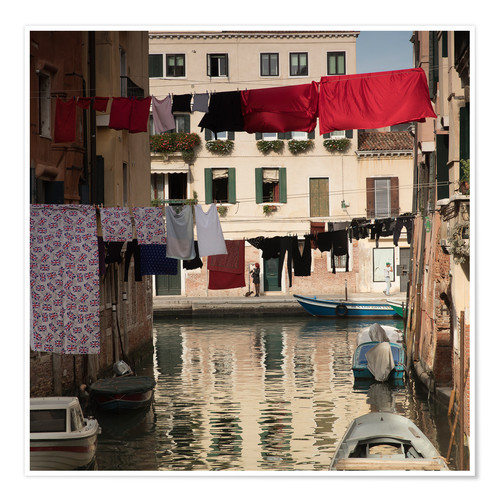 Premium-plakat Washing lines in Venice, Italy