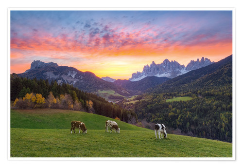 Premium-plakat View into the Villnöss Valley in South Tyrol at sunrise