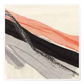 Premium-plakat Peach and Black abstract