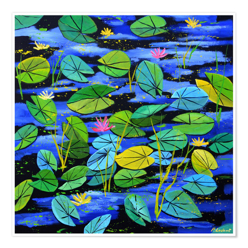 Premium-plakat Water lilies in the pond