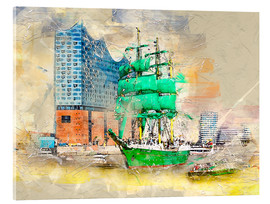 Akrylbillede  Hamburg Elbphilharmonie with the sailing ship Alexander von Humboldt - Peter Roder