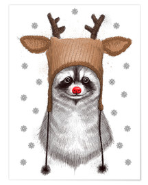 Premium-plakat Raccoon in Deer Hat