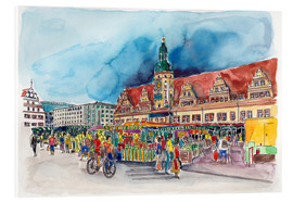 Akrylbillede  Leipzig Weekly market in front of the Old Town Hall - Hartmut Buse