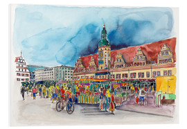 Print på skumplade  Leipzig Weekly market in front of the Old Town Hall - Hartmut Buse