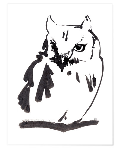 Premium-plakat Owl ink drawing