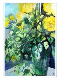 Premium-plakat Yellow roses with ivy in vase