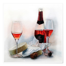 Premium-plakat Wine and cheese watercolor painting