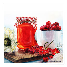 Premium-plakat Raspberry jam watercolor painting