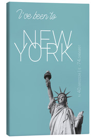 Lærredsbillede  Popart New York Statue of Liberty I have been to Color: Light blue - campus graphics