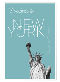 Premium-plakat Popart New York Statue of Liberty I have been to Color: Light blue